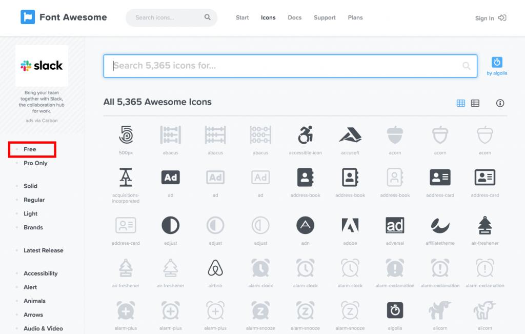 FontAwesomeのアイコン一覧画面のキャプチャ