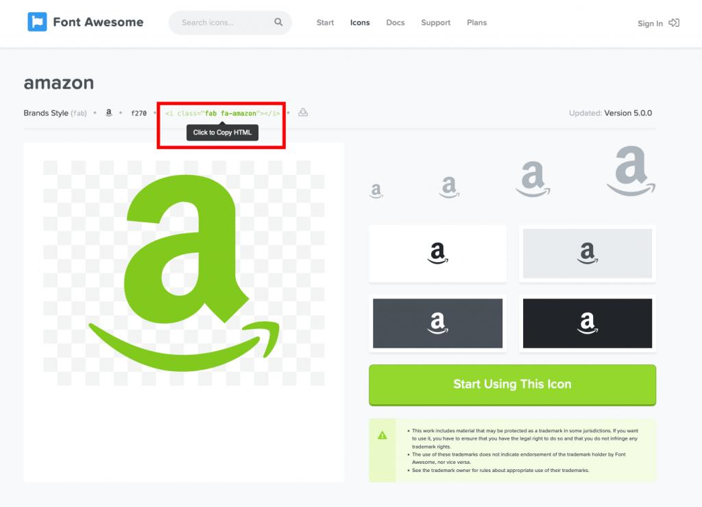 FontAwesomeのアマゾンアイコンの画面キャプチャ