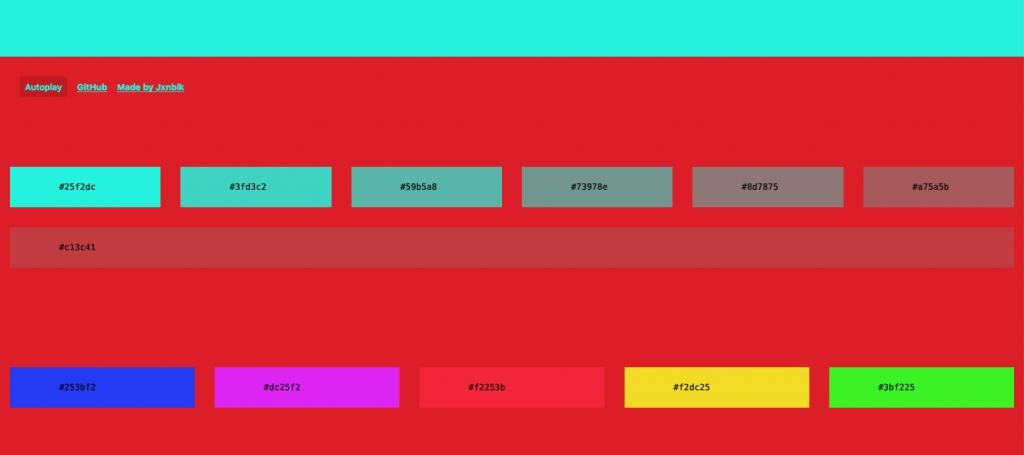 配色ツール「HELLO COLOR」の配色サンプル画面