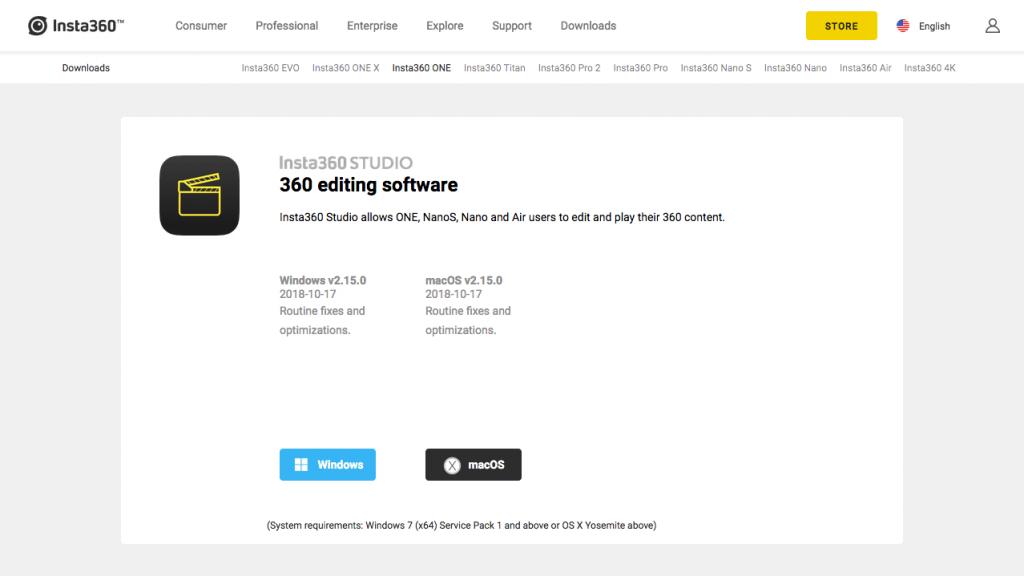 360度カメラ、インスタ360の専用アプリダウンロードサイト