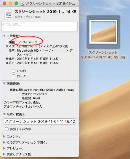 command + shift+ 4 で部分キャプチャを撮り、出来たファイルを選択し、command + I で情報ウィンドウを開き確認すると 「JPEG」ファイルになってます!