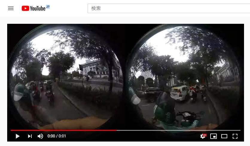 insta360の独自規格「insv」動画をそのままYoutubeにアップした画像