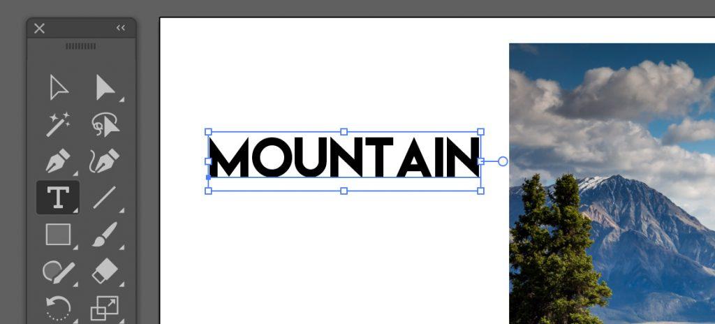 山の写真を「MOUNTAIN」という文字で切り抜きたい