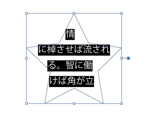 あとはこの「エリア内文字ツール」で先ほど作成したオブジェクトのフチあたりをクリックするとオブジェクトがテキストエリアに変わります。