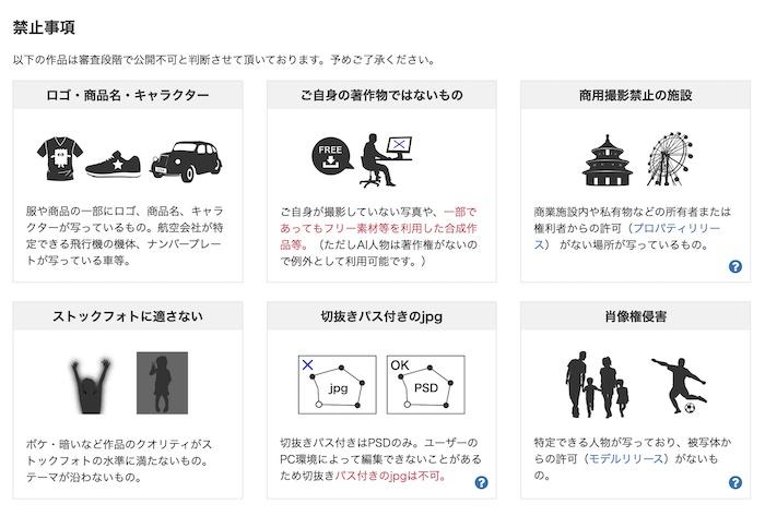 写真ACへ投稿が禁止されている写真一覧表